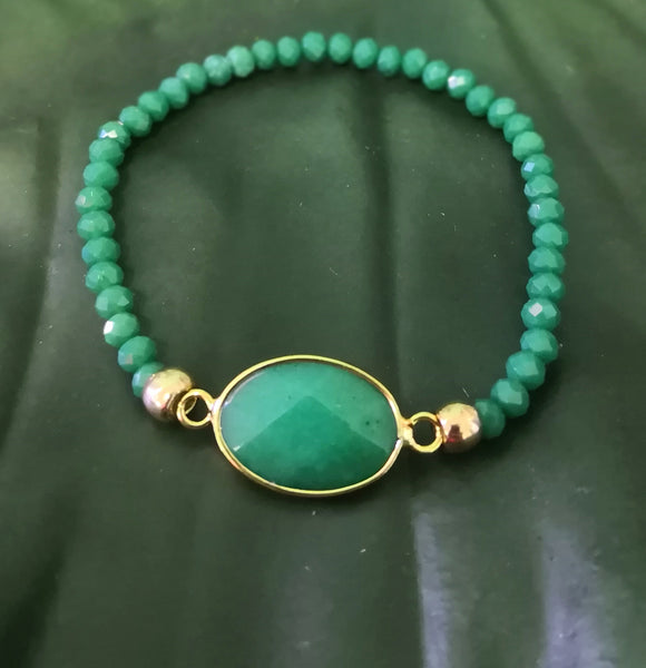 Green Malay Jade Stone on stretch crystal bead bracelet