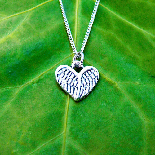 silver metal angel wings heart necklace chain charm pendant