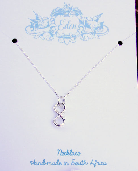 sterling silver 925 infinity necklace chain pendant charm