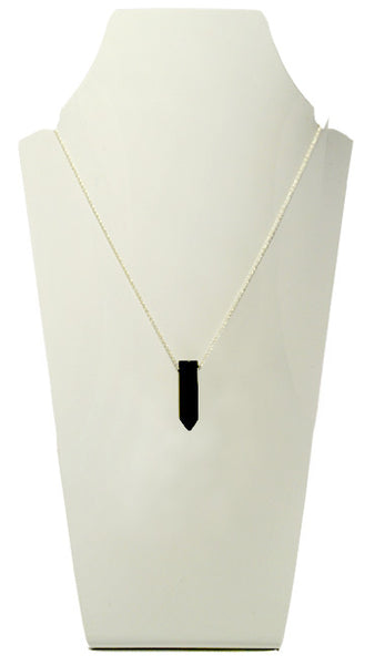 jet crystal stone necklace silver chain black