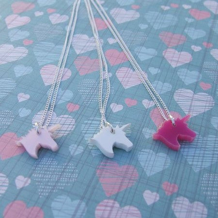 Perspex Unicorn Necklace - 7 different colours