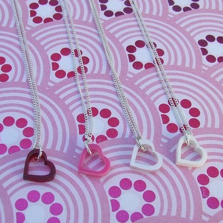 Perspex Heart Necklace - 7 different colours