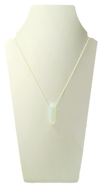 opalite crystal stone necklace silver chain