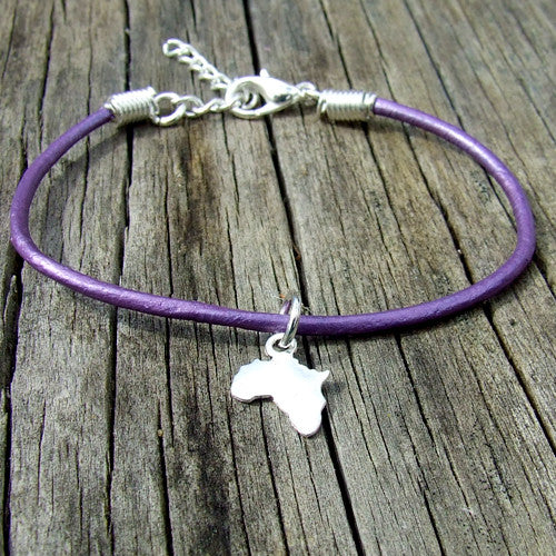 rolled leather Africa pendant charm bracelet purple