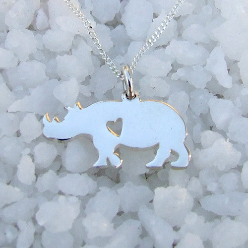Rhino with Heart Necklace - Sterling Silver 925
