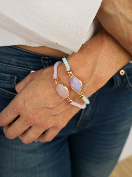 Opalite Stone on stretch crystal bead bracelet