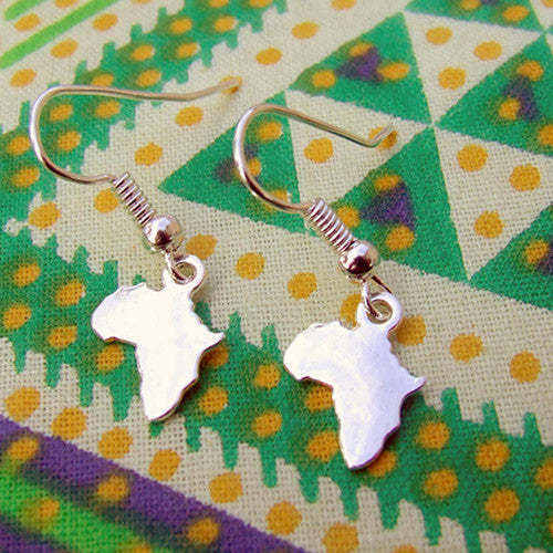 silver Africa pendant charm hanging earrings