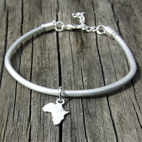 rolled leather Africa pendant charm bracelet silver