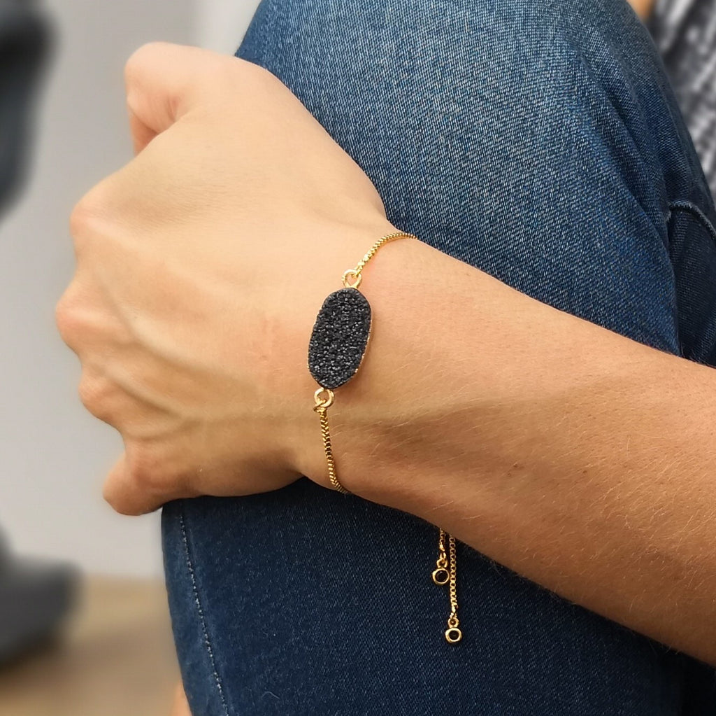 Black Druzy Stone Adjustable Gold Bracelet