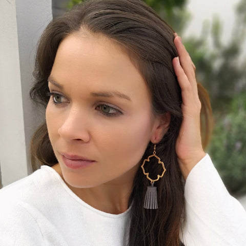 Moroccan gold cross earrings & suede tassel earrings - grey