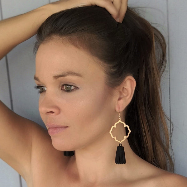 Moroccan gold cross earrings & suede tassel earrings - black