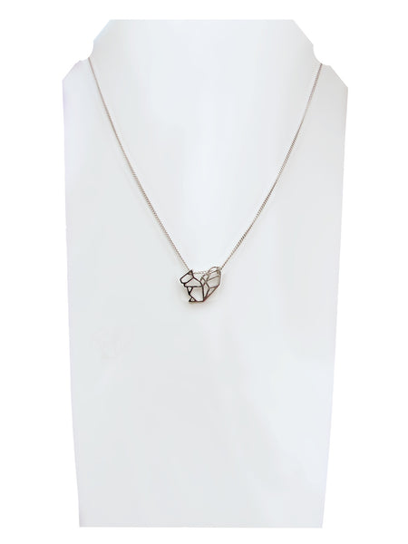 Origami squirrel pendant charm necklace silver chain