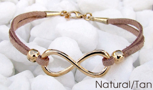 Eden Art rose gold infinity suede bracelet natural tan