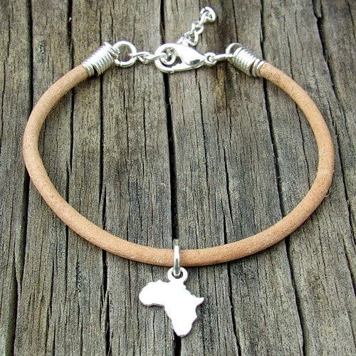 rolled leather Africa pendant charm bracelet natural tan