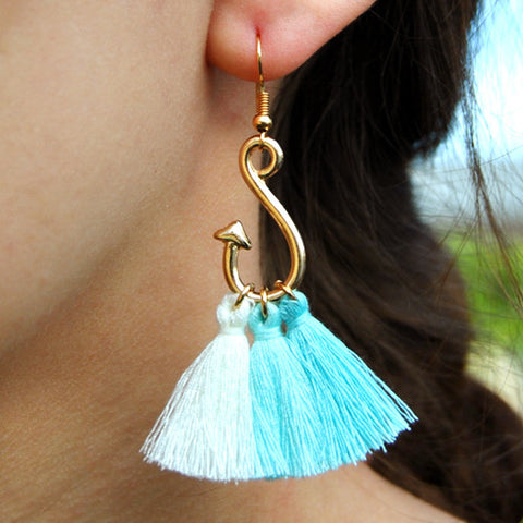 blue ombre tassel rose gold hook earrings