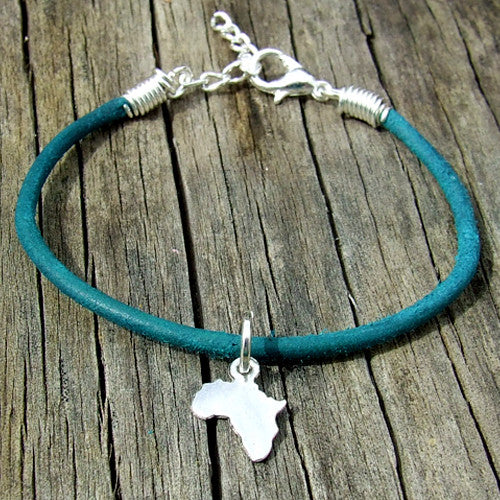 rolled leather Africa pendant charm bracelet teal