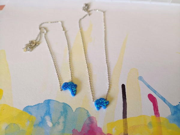 Sterling Silver Crushed Opal Stone Africa Necklace - Blue