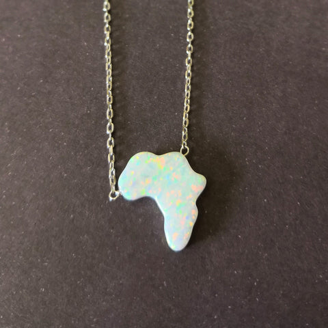 Sterling Silver Crushed Opal Stone Africa Necklace - White