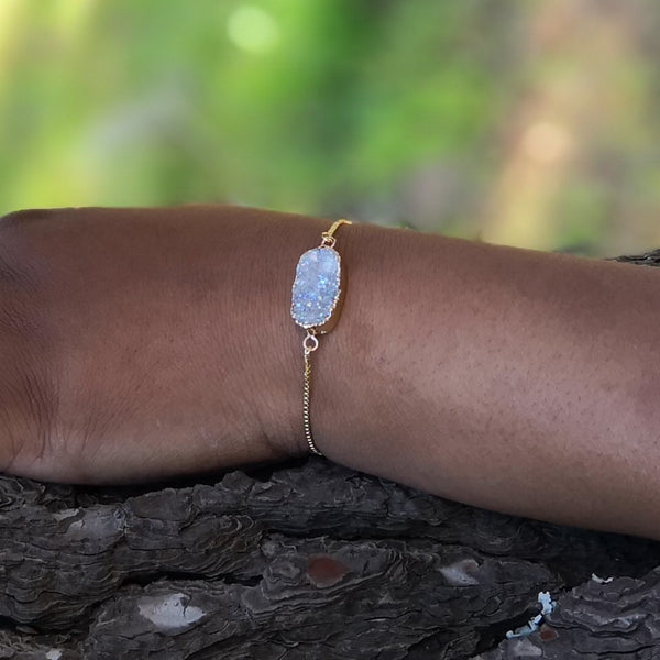 White Druzy Stone Adjustable Gold Bracelet