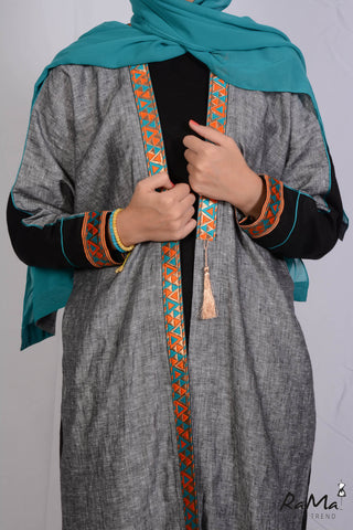 Indian Linen Abaya - Grey / Black