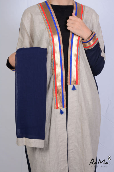 Indian Linen Abaya - Paige / Dark Blue