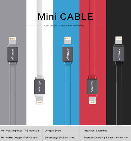 NILLKIN 30CM TPE Mini Cable Lightning Fast USB Charger For iPhone / iPod / iPad