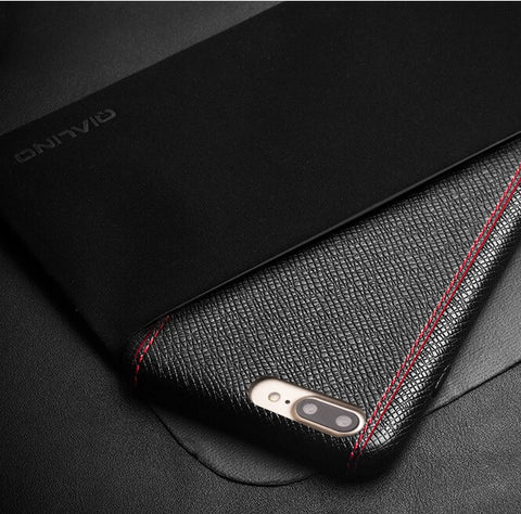 iPhone 7 Leather Back Case - Cross Pattern