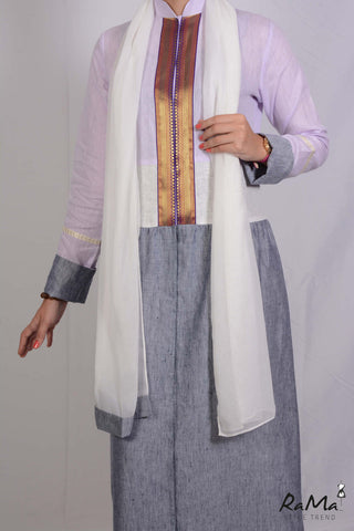 Indian Linen Abaya - Grey / Light Purple