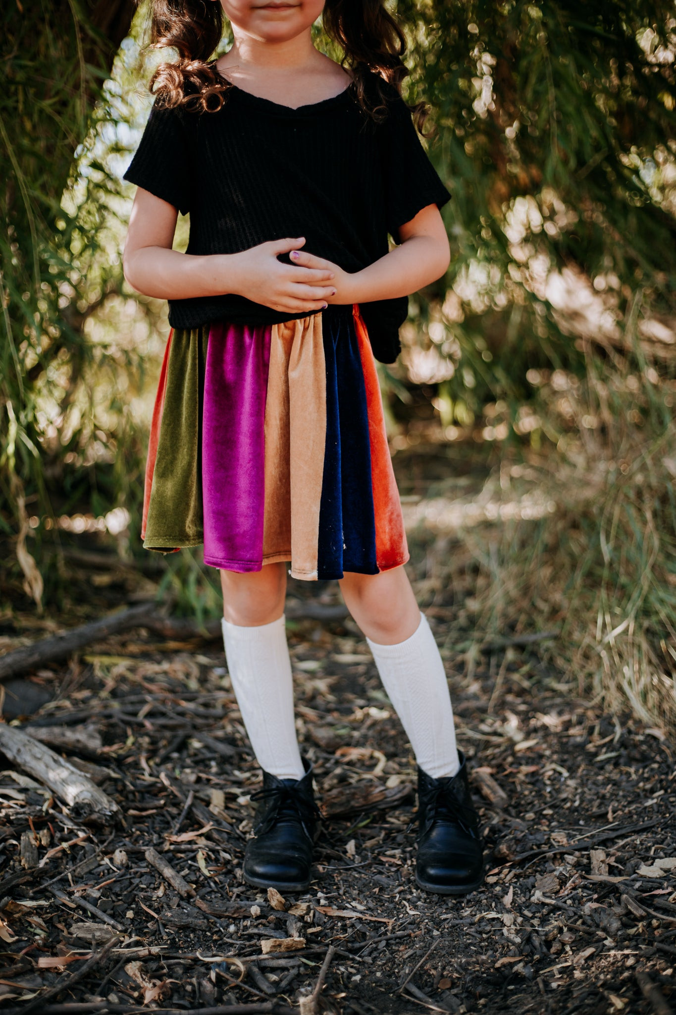 Fall Rainbow Velvet Skirt