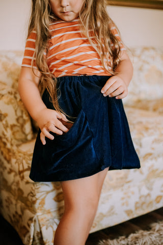Navy Corduroy Pocket Skirt