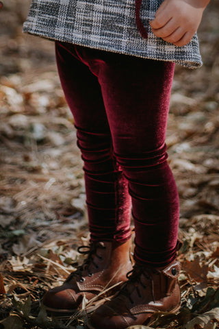 Bordeaux Velvet Legging- Ready to Ship