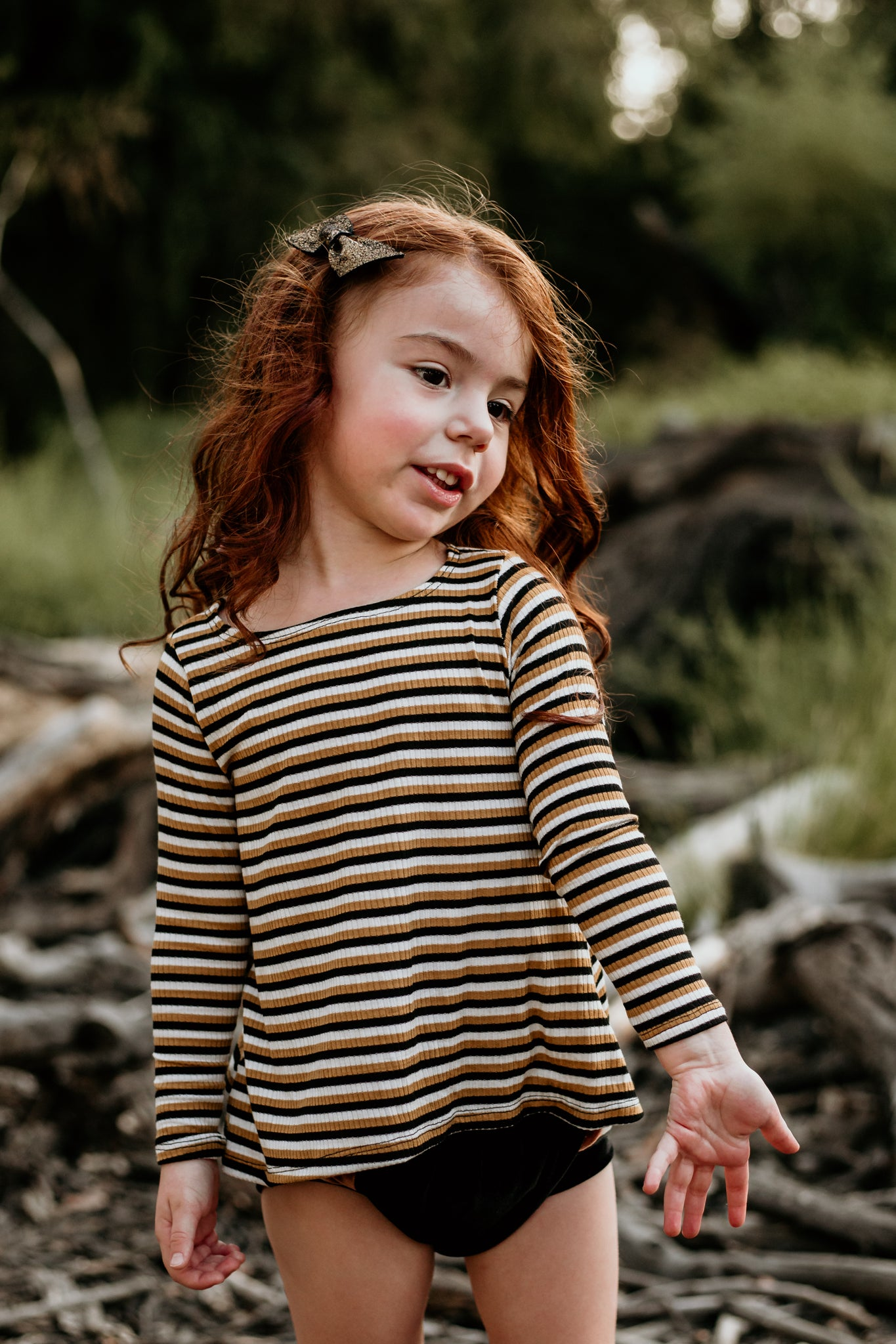 Mustard Stripe Swing Tee