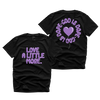 """LOVE MORE"" FRONT+BACK TEE (BLACK/LIGHT PURPLE)"