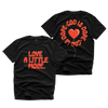 """LOVE MORE"" Front+Back TEE (BLACK/RED)"