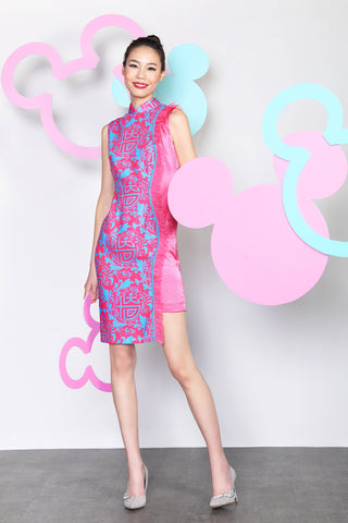 MICKEY CHINESE SEAL PATTERN PRINT CONTRAST QIPAO WITH RUFFLE TRIM (Fuchsia/ Blue)