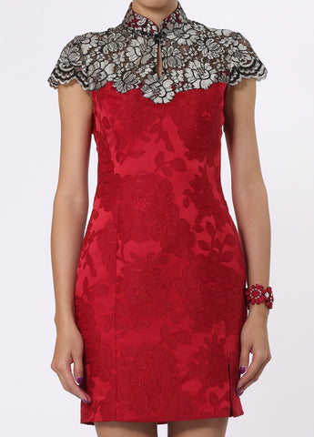 Red and Gold Floral Qipao with Contrast Embroidered Lace Top