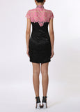 Black and Pink Floral Qipao with Contrast Embroidered Lace Top
