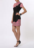 Black and Pink Floral Qipao with Contrast Embroidered Lace Trimming