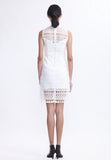 White Lace Dress With A Pleat At Waist