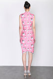 LEONLOLLIPOP CAT PRINT SLEEVELESS DRESS WITH ASYMMETRIC HEM