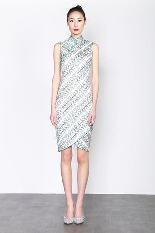 MAHJONG PRINT SLEEVELSS DRESS WITH ASYMMETRIC HEM