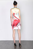 LEONLOLLIPOP FLAMINGO PRINT SILK QIPAO