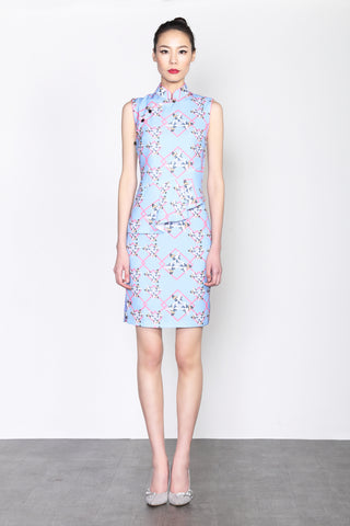 LEONLOLLIPOP DOG PRINT SLEEVELESS DRESS WITH RUFFLE AT WAIST