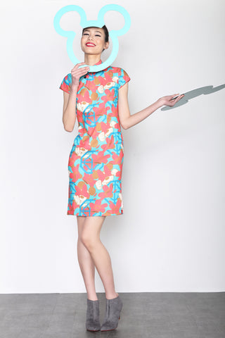 MINNIE PATTERN PRINT CAP SLEEVES QIPAO