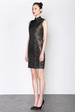 BLACK JACQUARD SLEEVELESS QIPAO WITH GOLD FOIL LACE SIDE PANEL AND MESH RUFFLE