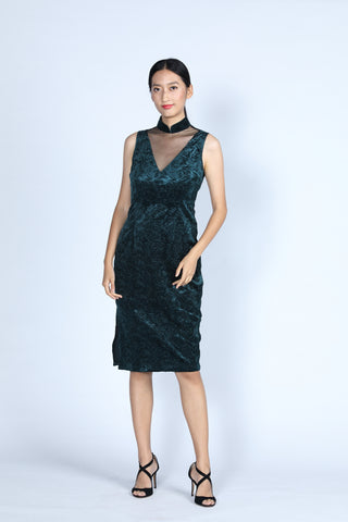 DIANA V-neck Cheongsam (Black/ Gold)