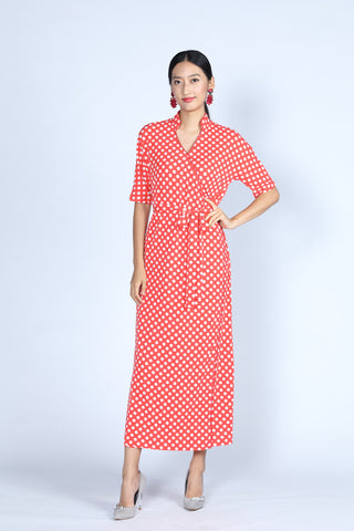 BIANCA Polka dot Long Wrapped Dress (Red/ White)