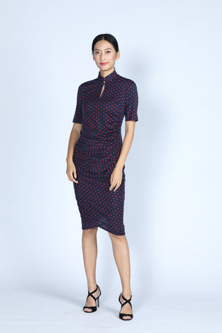 ELEANOR Polka Dot Gathered Cheongsam (Navy/ Red)
