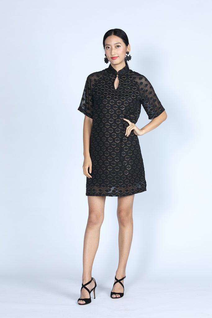 ABBEY Loose Fit Dress (Black/ Gold)