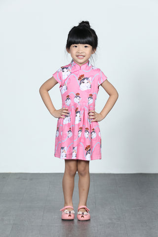 GIRLS- LEONLOLLIPOP CAT PRINT COTTON GATHERED DRESS